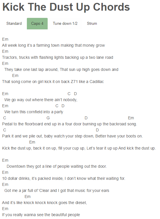Kick The Dust Up Chords Luke Bryan Capo 4 | Luke Bryan | Pinterest ...