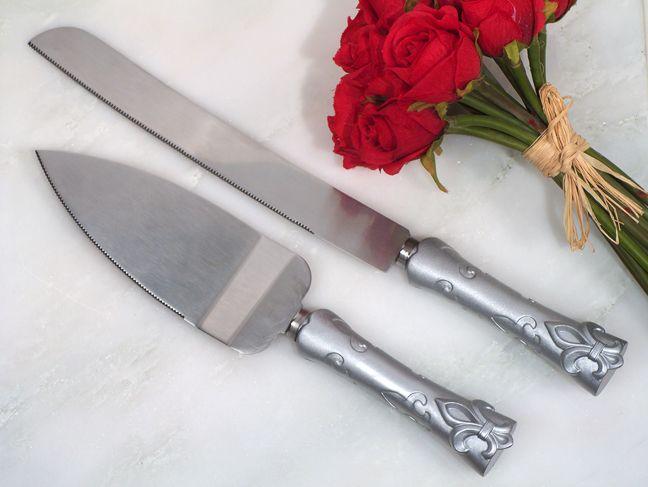 Silver Fleur De Lis Wedding Cake And Knife Server Set | Favors ...