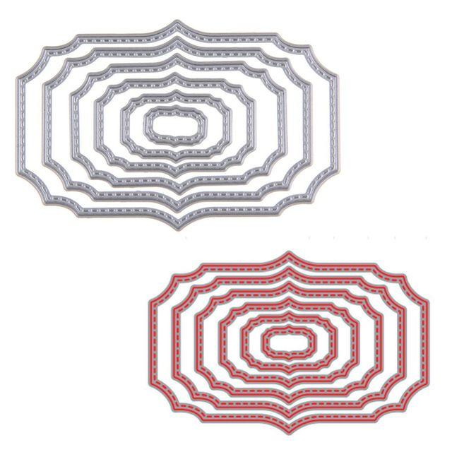 6 Pz/set Ondulato Cornici Quadrate Taglio Muore Stencil Scrapbooking Album di Carta Carta Goffratura Mestiere