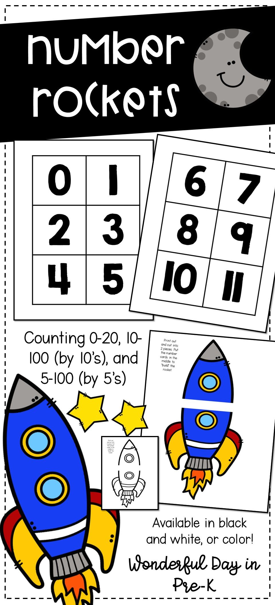 Build A Rocket With Numbers Can Print In Black And White Or Color And Rockets And Cards Come In Two Different S Counting Backwards Counting By 10 Space Theme [ 2112 x 960 Pixel ]