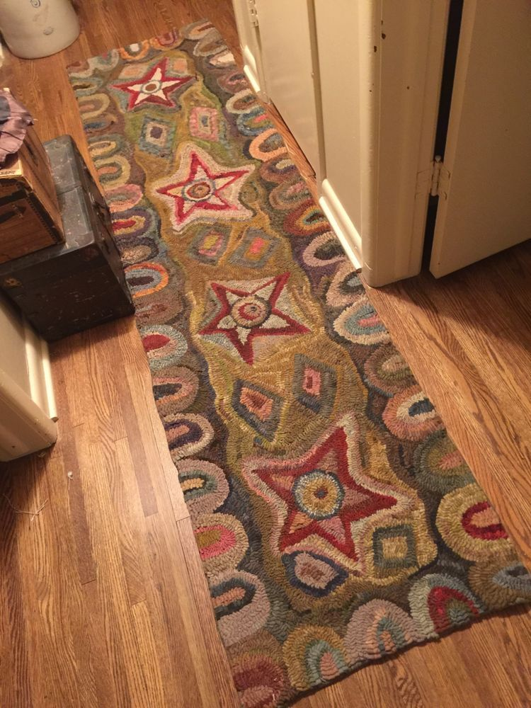 Large Primitive Style Hand Hooked Wool Rug Hallway Runner