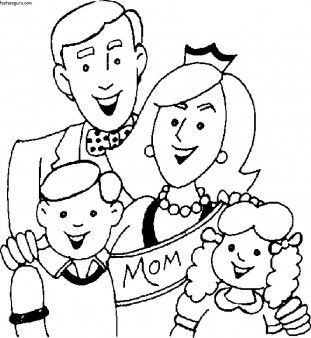 Printable Mothers Day With Happy Family Coloring Page Printable