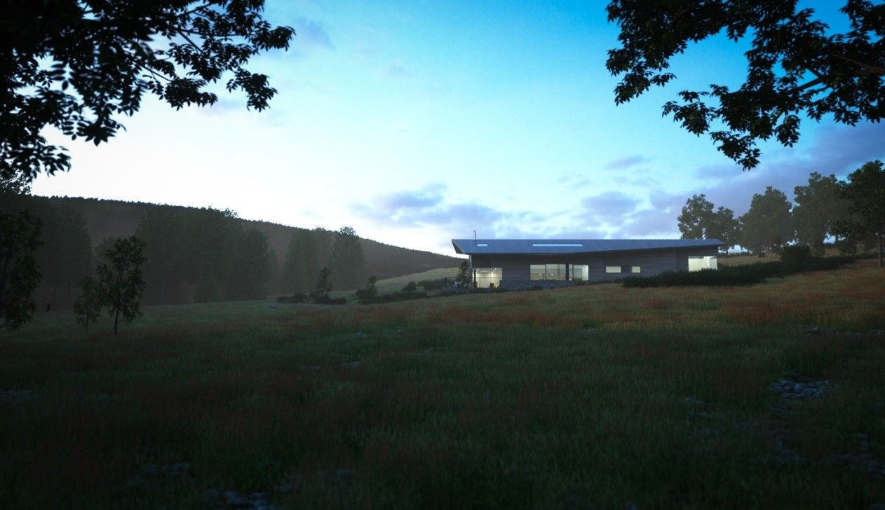 Large picture windows offer expansive views of the surrounding countryside