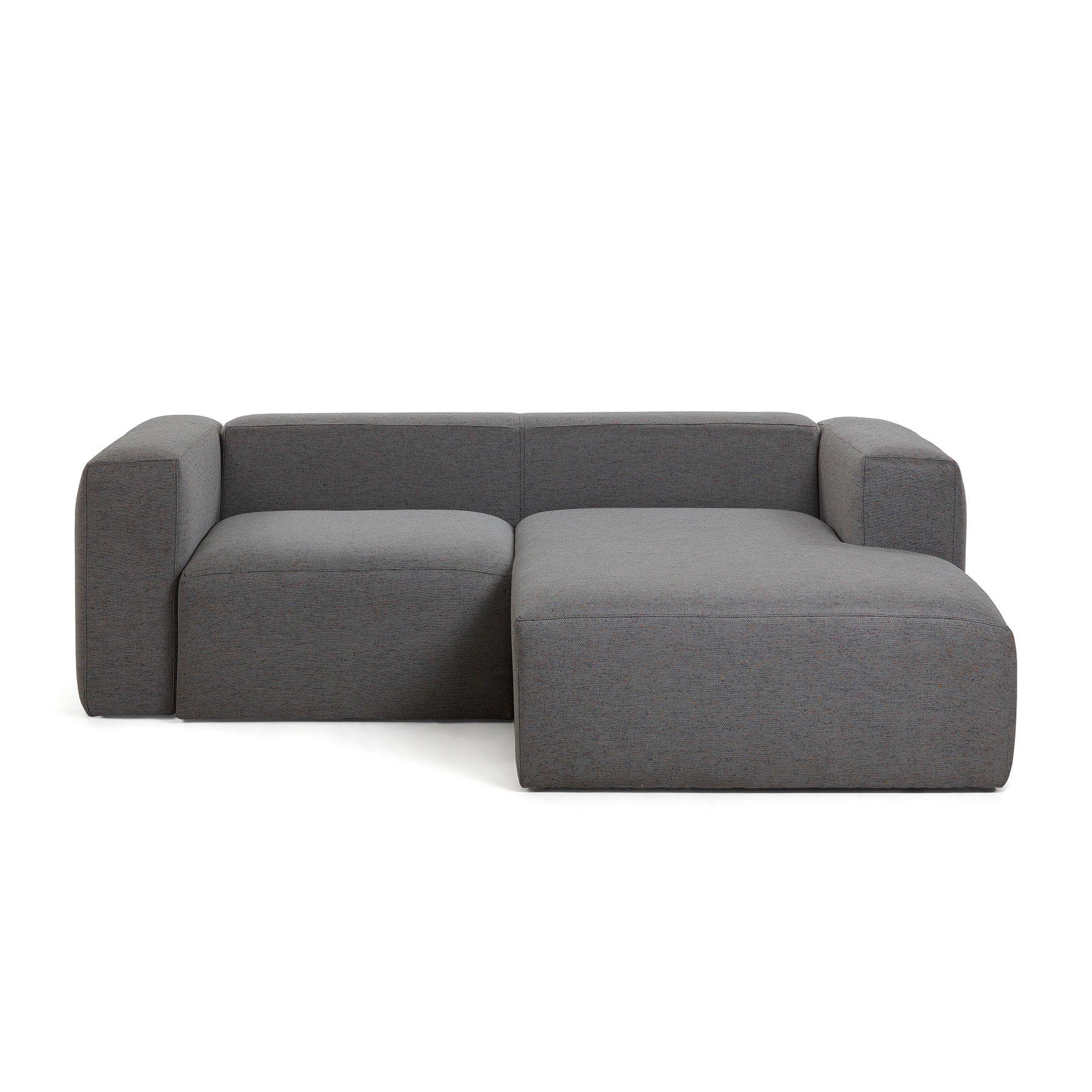 Sofá Blok chaise longue derecho 2 plazas gris oscuro