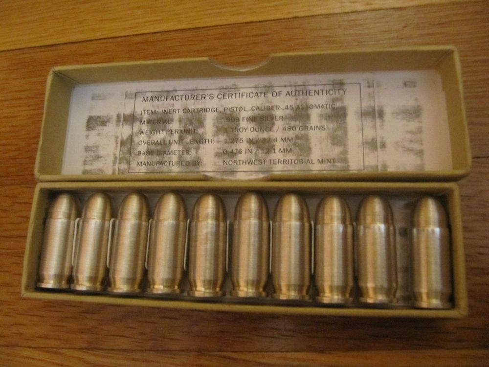 Rare 10 X 1 Tr Oz 999 Silver Bullet 45 Caliber Northwest Territorial Mint 10 Oz Silver Bullet Mint Silver