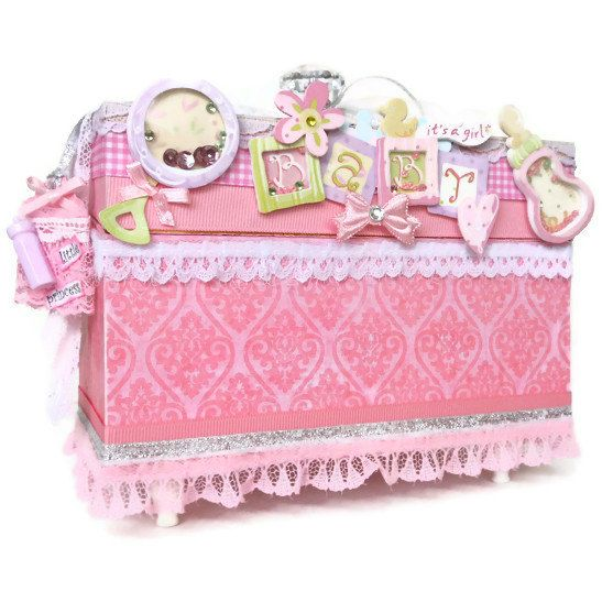 Baby Girl Jewelry Box for Keepsakes Baptism by BlissfulBoxes 6500