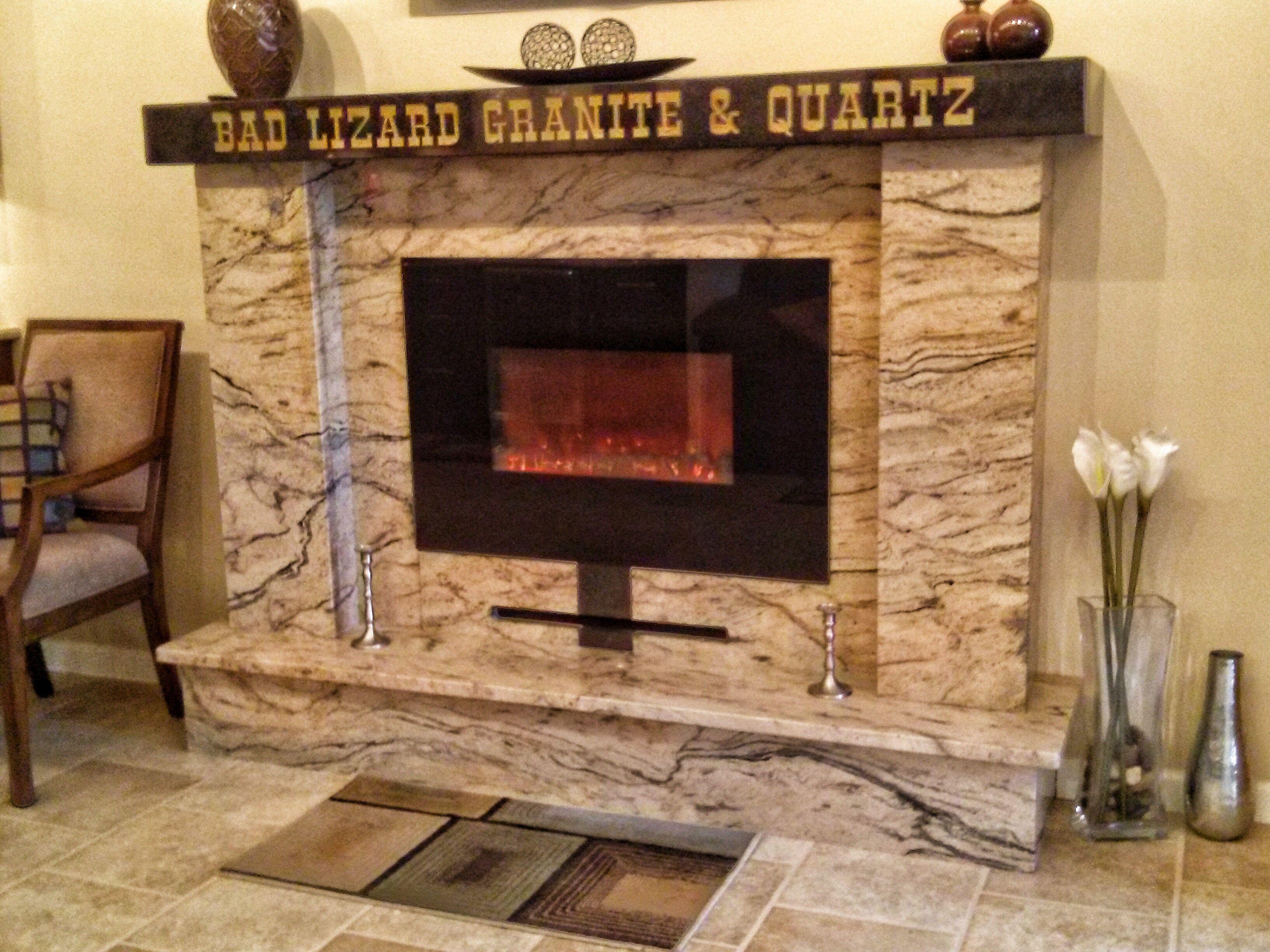 custom fireplace surround for the bad lizard showroom bad