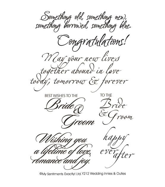 "Wedding Card Sentiments: My Sentiments Exactly Clear Stamps 4""X6"" Sheet-Wedding"