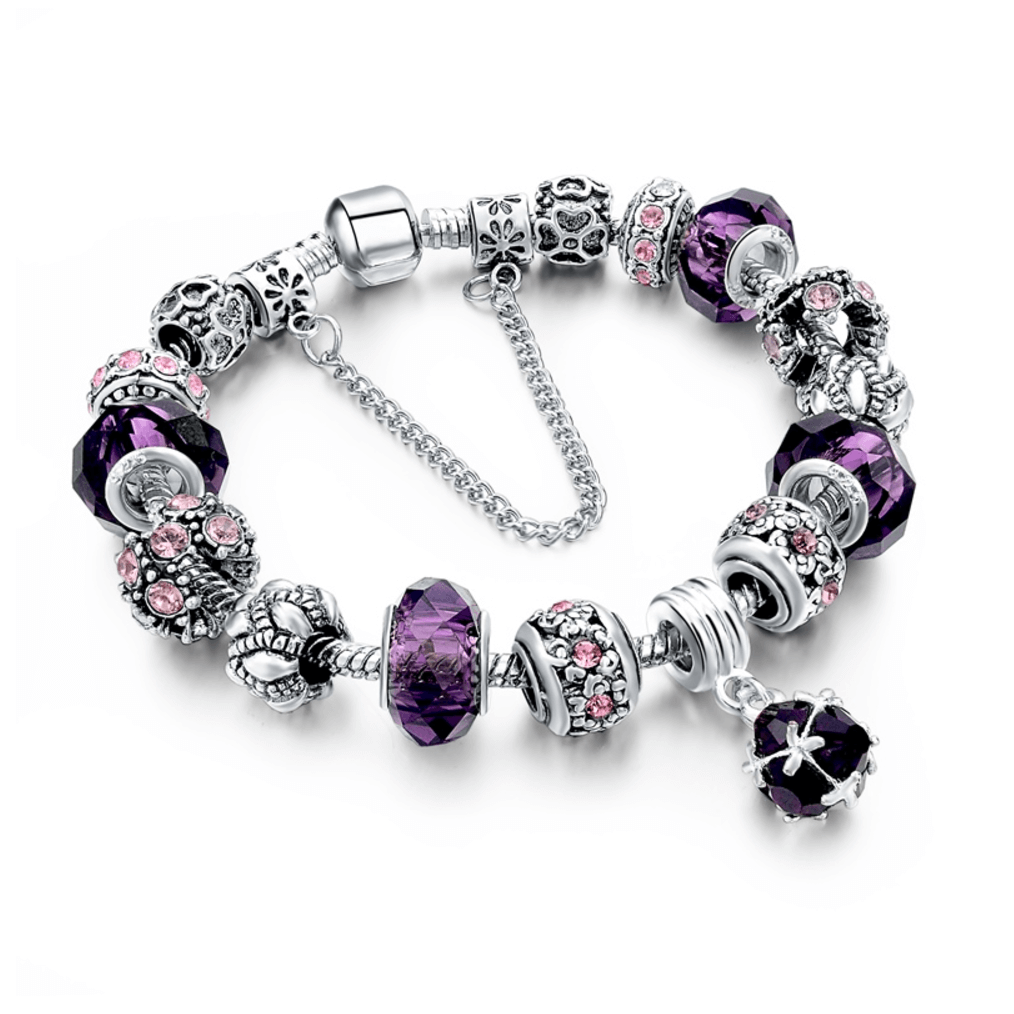 Charm bracelet luxury fashion silver u purple crystal charm