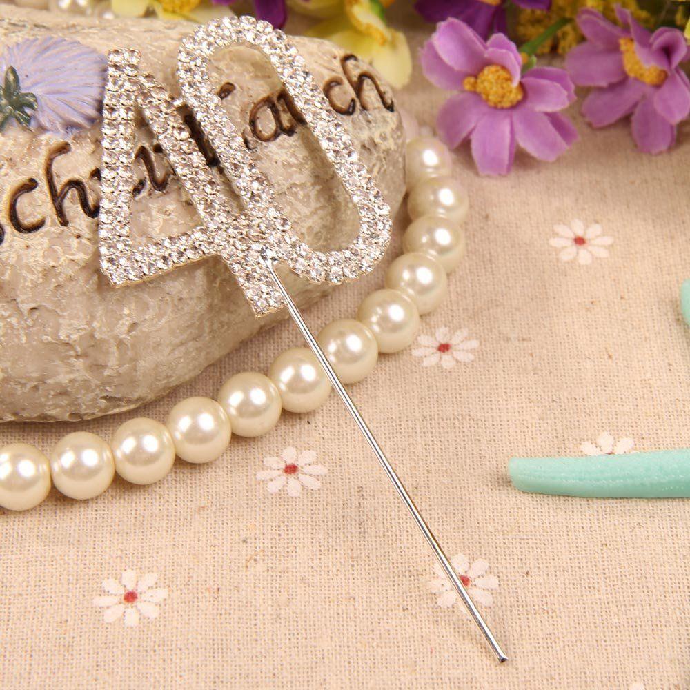 Vktech® Crystal Rhinestone Bling Silver Number