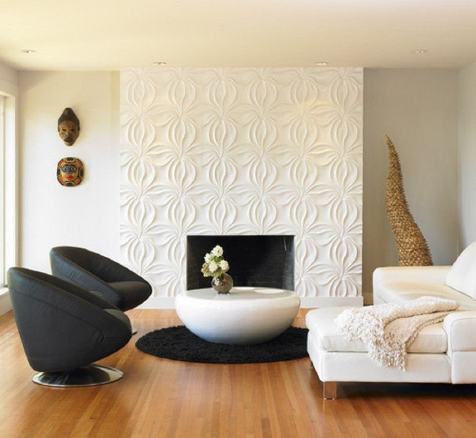Contemporary Living Room With 3d Wall Panel Featuring Flower Shaped Fireplace Wall Featu Living Room Design Modern Small Living Room Design Living Room Designs