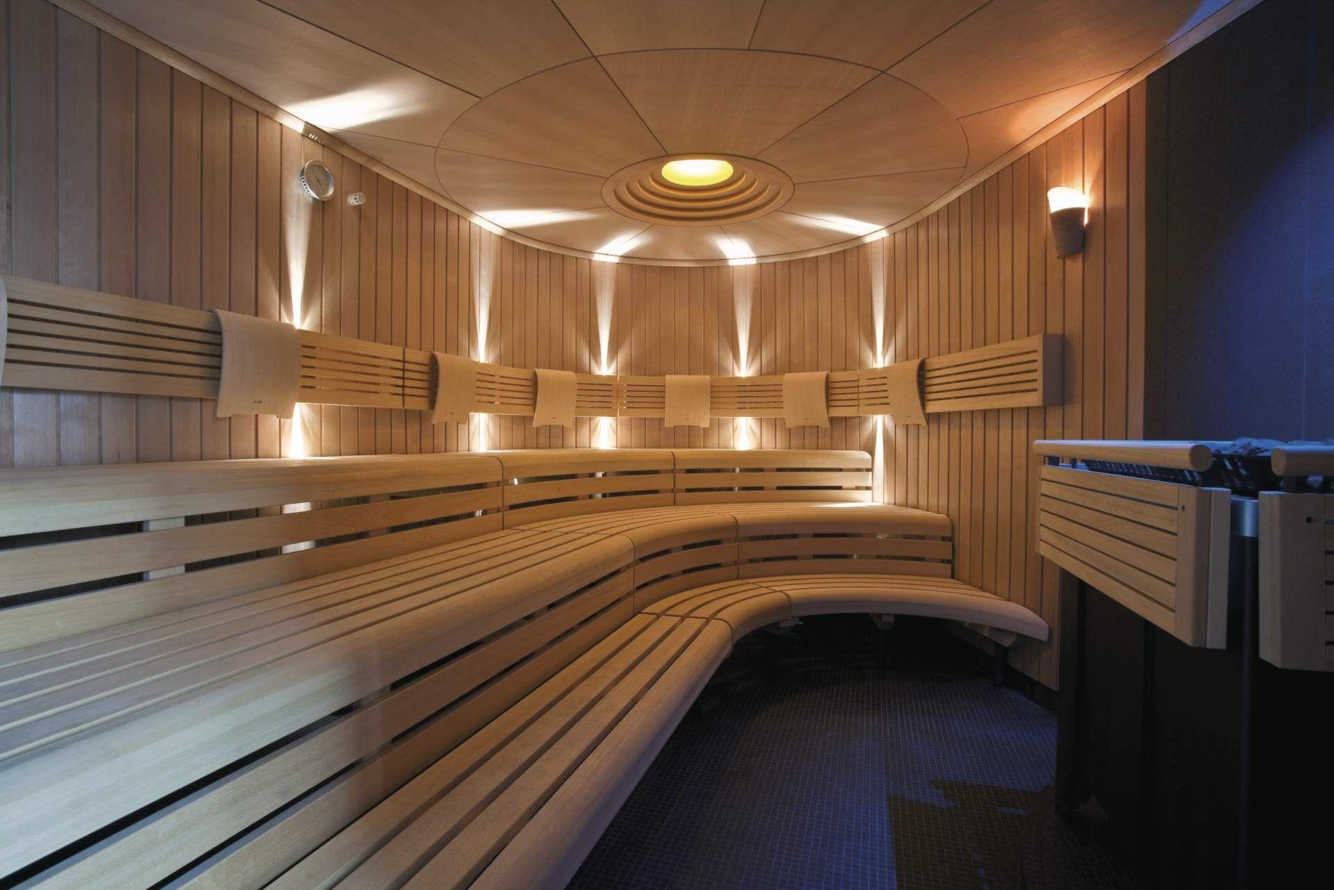 Klafs Sauna With Custom Curved Benches #Klafs #Bespoke #Custom #Design