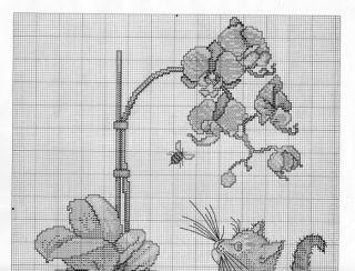 Gato e orquídea para bordar a ponto cruz - Esquemas de Ponto de Cruz