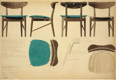 Finn Juhl Scetches For Dining Chair Manufactured 1953 By