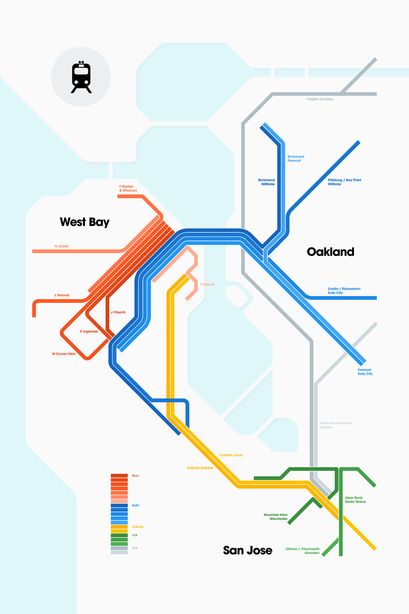 Getting Muni Rail Bart Caltrain Vta And The Capital Corridor All One Poster San Francisco Oakland Bay Area Train Rail Transit Map Transfer Vi ¿イポグラフィ °ラフィック Bart is a regional heavy rail system serving san francisco, san francisco international airport and through the transbay tube to oakland and other east bay cities in alameda and contra costa counties, as well as service to san jose via east bay. getting muni rail bart caltrain vta