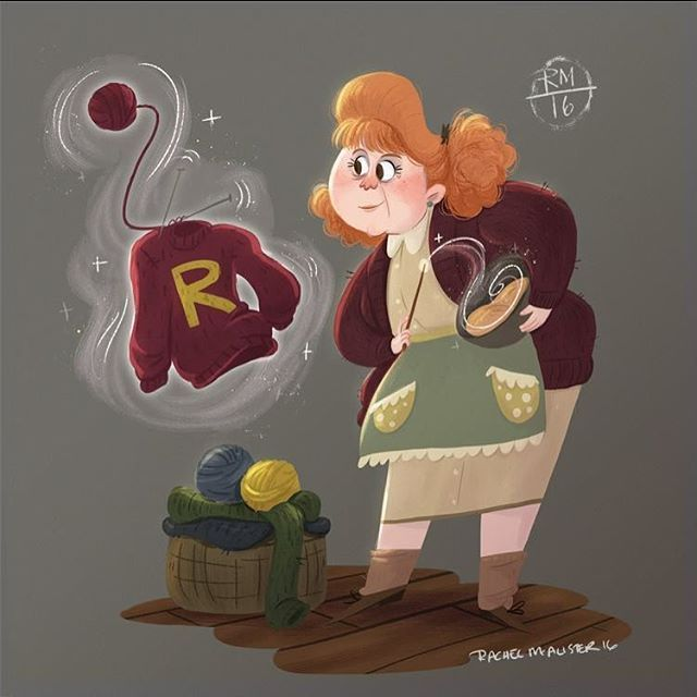For this week's Harry Potter character design challenge; mrs Molly Weasley! Easily one of my favorite characters :) #doodle #painting #drawing #chara....