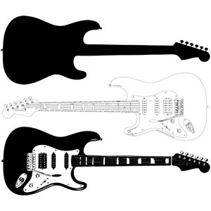 Silhouette Electric Flying Guitar Vector Gibson Guitar Guitar Vector Slide Guitar