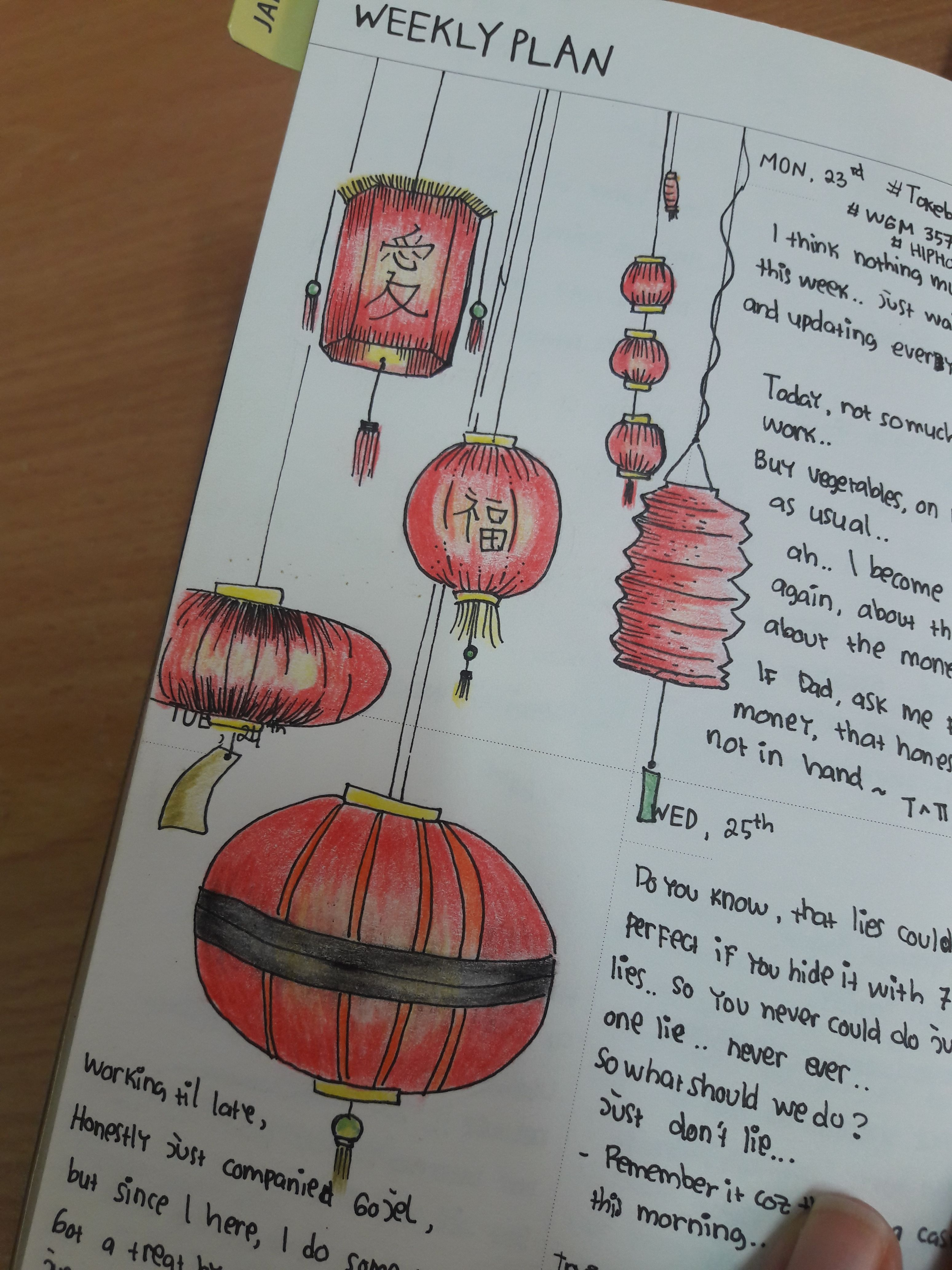 Chinese New Year Lantern January bullet journal, Bullet