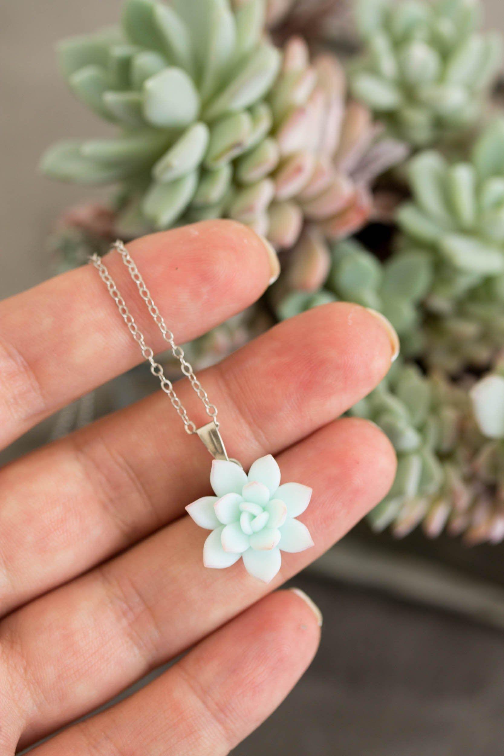 Succulent Pendant Necklace - Clay Cactus Plant Drop Charm Necklace Turquoise Succulent Jewelry Gift