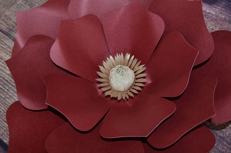 Burgundy wild Flower SVG Big flower svg template, Big flower template, New flower cricut, silhouette, paper flower template