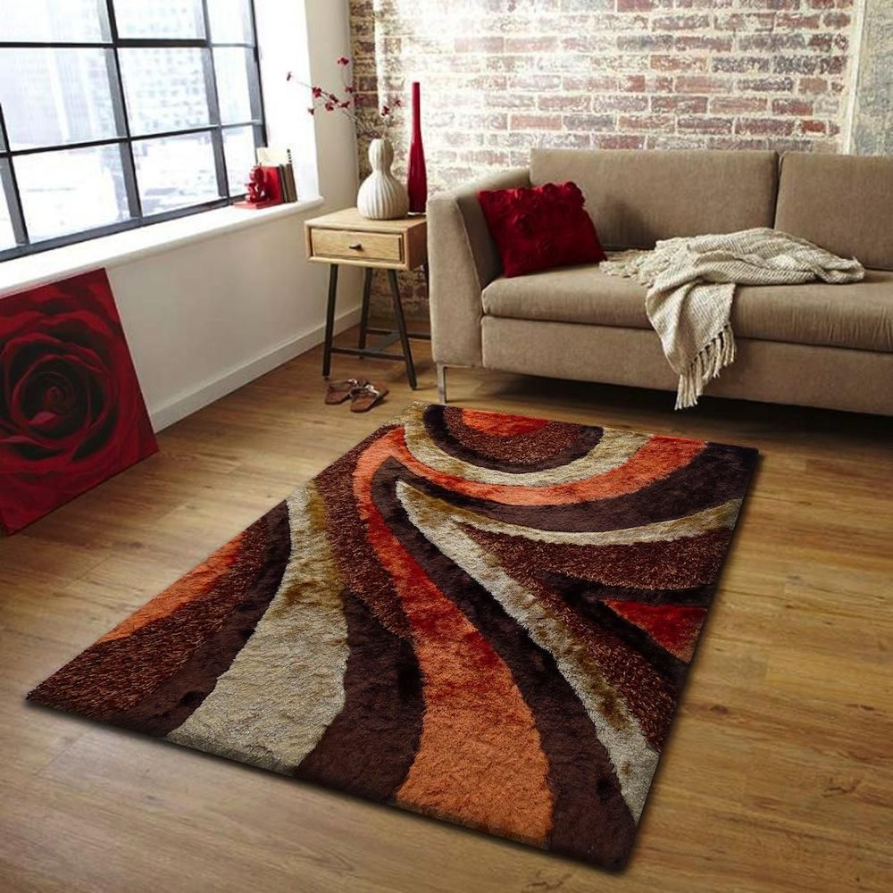 Orange Brown Rug | Living room decor themes, Rugs in living room