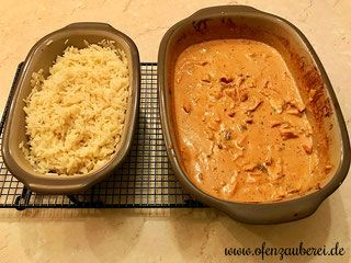 Geschnetzeltes Zürcher Art mit Reis aus Ofenmeister und kleiner Zaubermeister von Pampered Chef