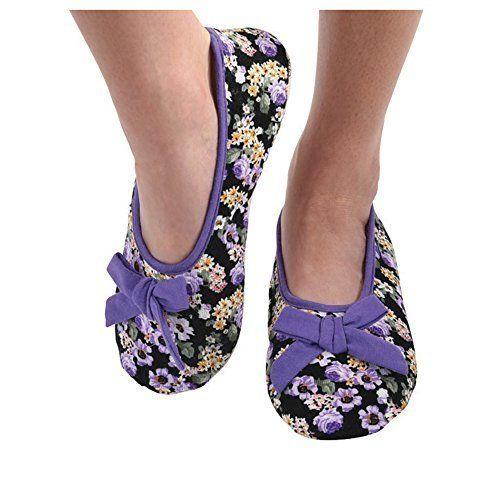 Snoozies Womens Corduroy Floral Ballet Non-Skid Slipper Socks - Lavender, Large
