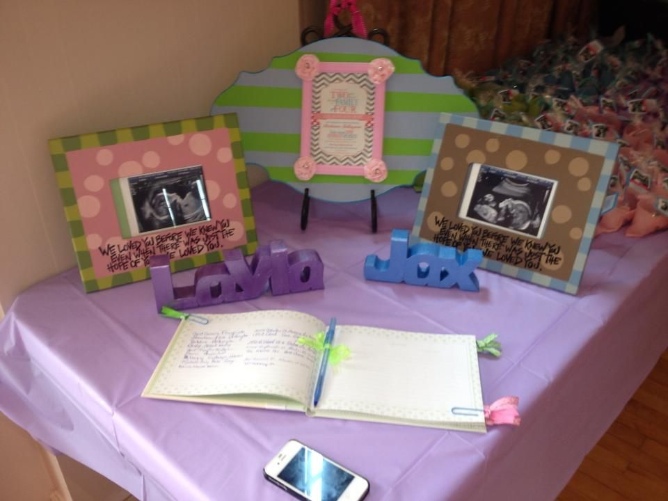 Baby Shower Sign In Table. Painted Picture Frame, Plaque With Framed  Invitation (can