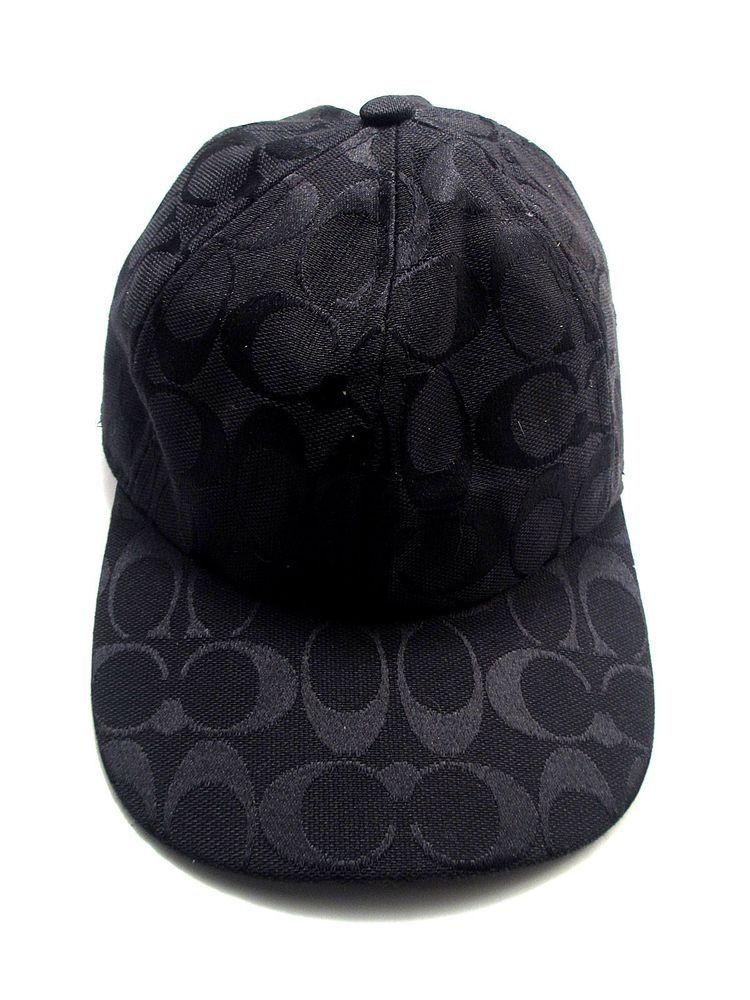 9e9dbba46a0 Authentic Coach Black Signature Logo Baseball Cap Hat - Genuine Ladies  designer
