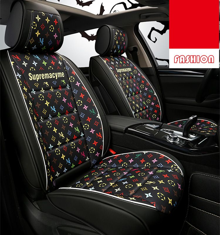 191.52 Classic Leather LV Print Car Seat Covers Universal