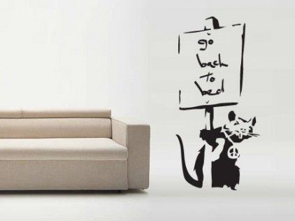 Banksy Go Back To Bed Decal Wall Sticker by Serious Onions Ltd