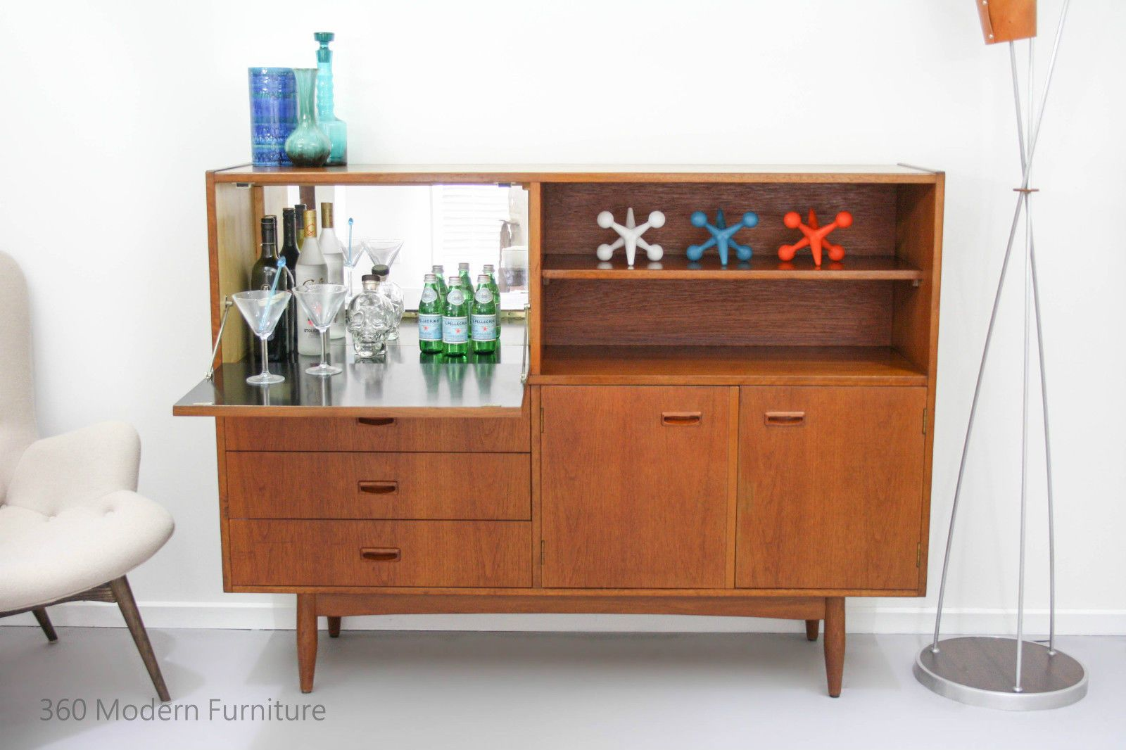 Mid Century Chatley Sideboard Cocktail Bar Cabinet Desk Console