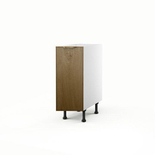 Meuble de cuisine bas chêne 1 porte Origine, H70xL30xP56 cm ...