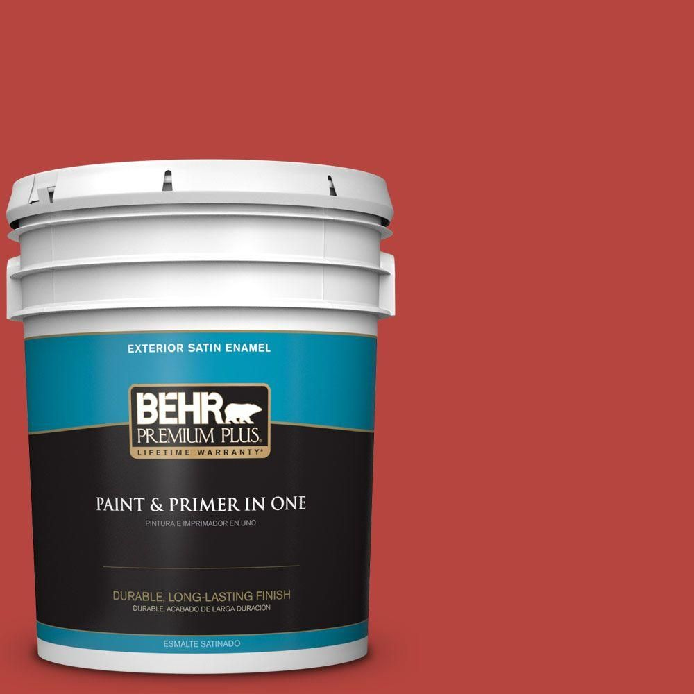 Behr Premium Plus 5 Gal P160 7 Stiletto Love Satin Enamel Exterior Paint And Primer In One 934005 Interior Paint Patio Flooring Behr