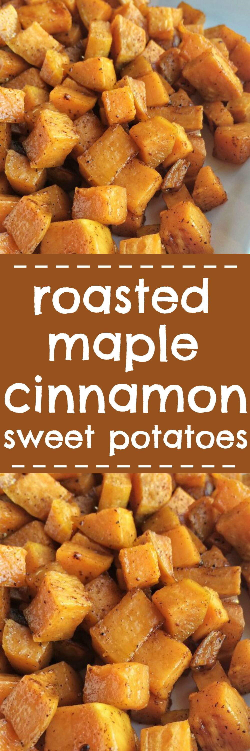 Roasted maple cinnamon sweet potatoes are a healthier side dish for dinner or Th…