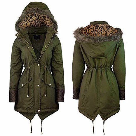Samantha's Ladies Military Fur Hooded Womens Fishtail Winter Parka Jacket  Coat: Amazon.co.