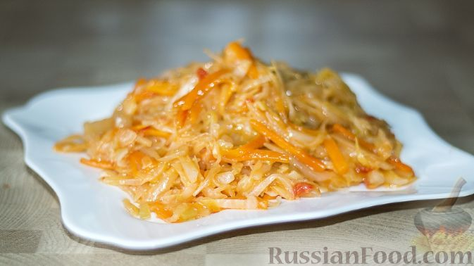 Рецепт Тушеная капуста по-русски, cостав: капуста ...