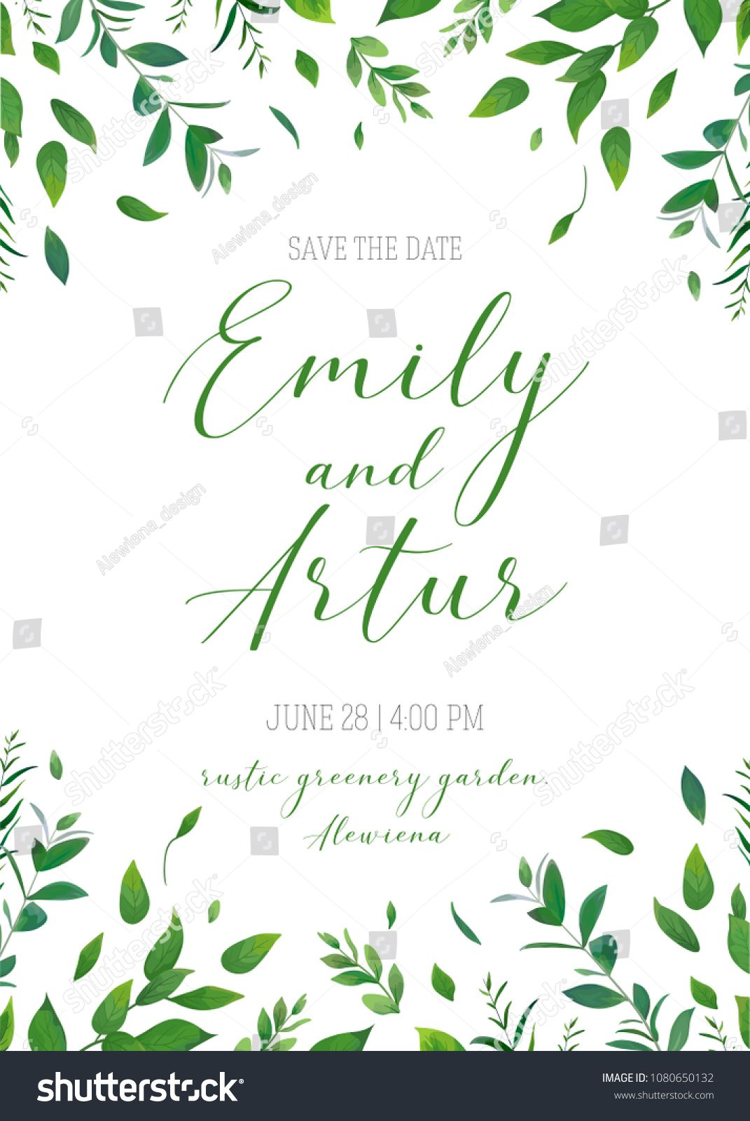 Wedding Floral Greenery Invitation Invite Save The Date Card Vector Design Rustic Natural