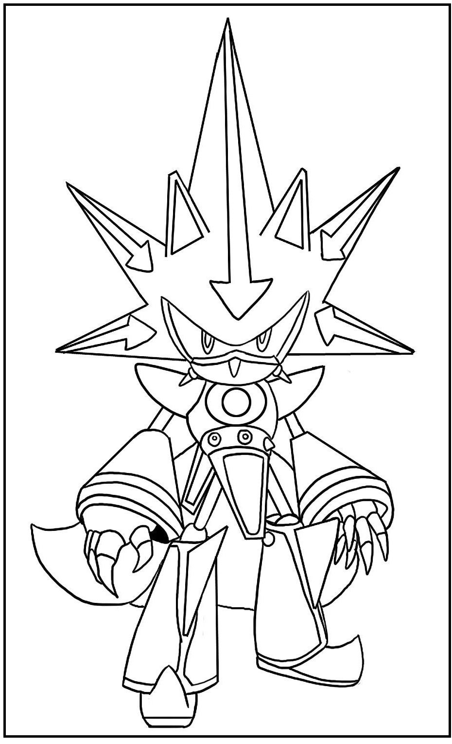 Picture Neo Metal Sonic Coloring Pages For Kids F8q Printable Sonic The Hedgehog Coloring Pag Sonic Para Colorear Paginas Para Colorear Como Dibujar A Sonic