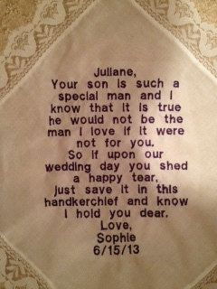 Items similar to Mother of the GROOM LACE Heirloom Personalized Wedding Handkerchief  Custom Embroidered on Etsy