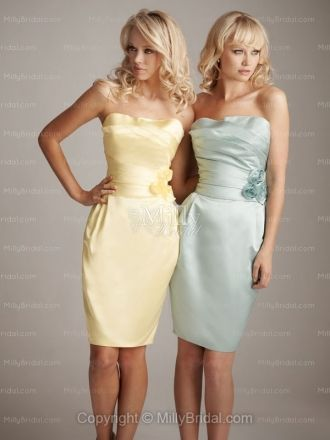 Column Strapless Yellow Satin Flowers Knee-length Bridesmaid Dress at Millybridal.com
