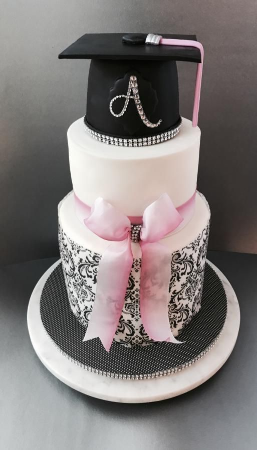 Pink And Black Graduation Cake Cake By Dozycakes Graduation Party Cake Graduation Cakes Graduation Cake Designs
