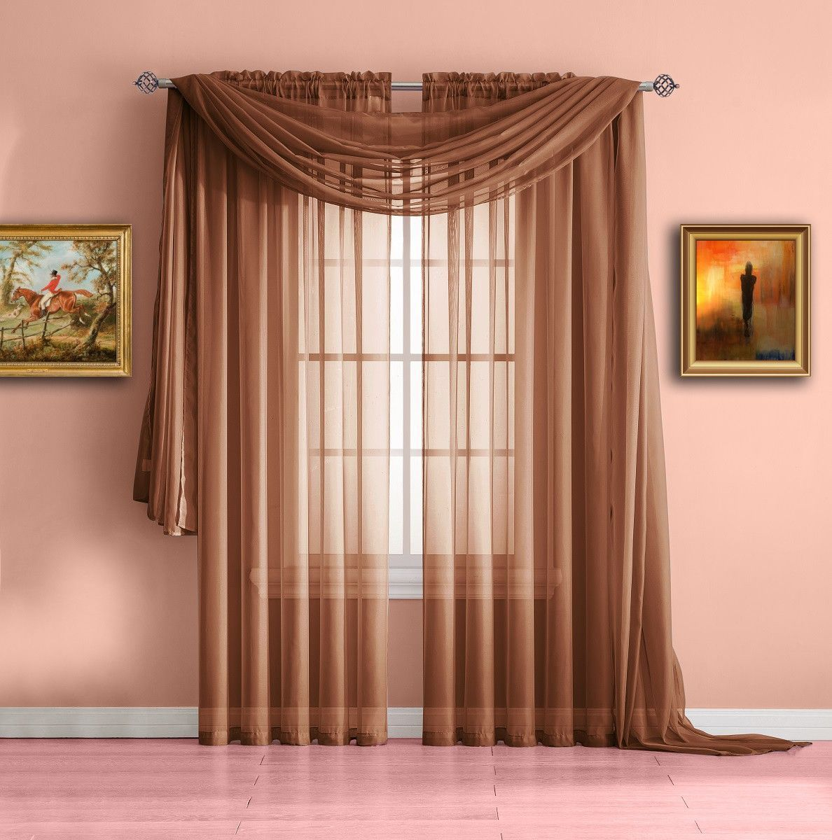 Warm Home Designs Pair Of Orange Rust Voile Sheer Curtains Or Valance Scarf Green Sheer Curtains Curtains House Design #rust #curtains #for #living #room