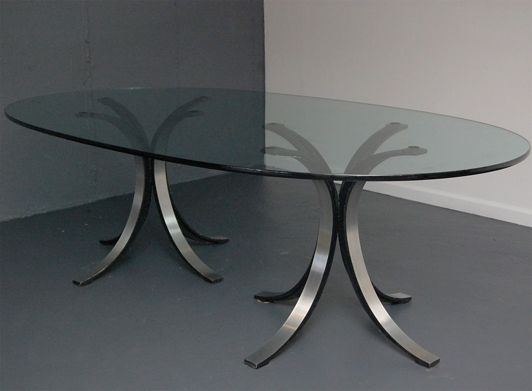 Contemporary Oval Glass Dining Tables Collection : Elegant Italian Style Oval  Glass Dining Table Inspiration For