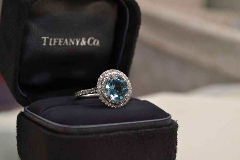 823602e65 Tiffany soleste with aquamarine center stone   eat, drink and be married