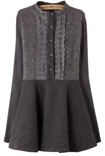Grey Stand Collar Flouncing Woolen Dress - abaday.com