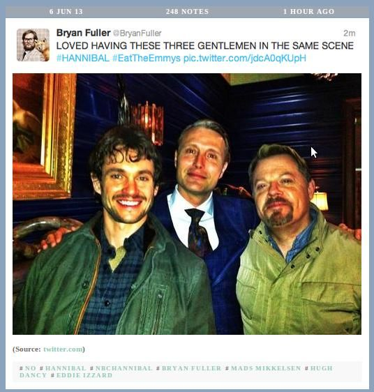 This photo shouldn't be as adorable as it is. Hannibal featuring Hugh Dancy, Mads Mikkelsen, and Eddie Izzard