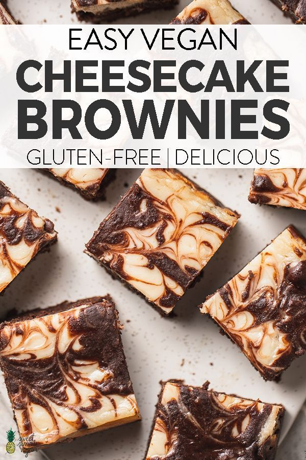 A swirled cheesecake brownie that is vegan, gluten-free and easy to make! Sweet, tangy and decadent treat that is sure to impress the whole family, vegans and nonvegans alike! #veganbrownies #cheesecakebrownies #creamcheesebrownies #vegandessert #glutenfreevegandessert #vegan #sweetsimplevegan #swirledbrownies #kidfriendly #easy #party #vegan Desserts Vegan Cheesecake Brownies (Gluten-free) - Sweet Simple Vegan