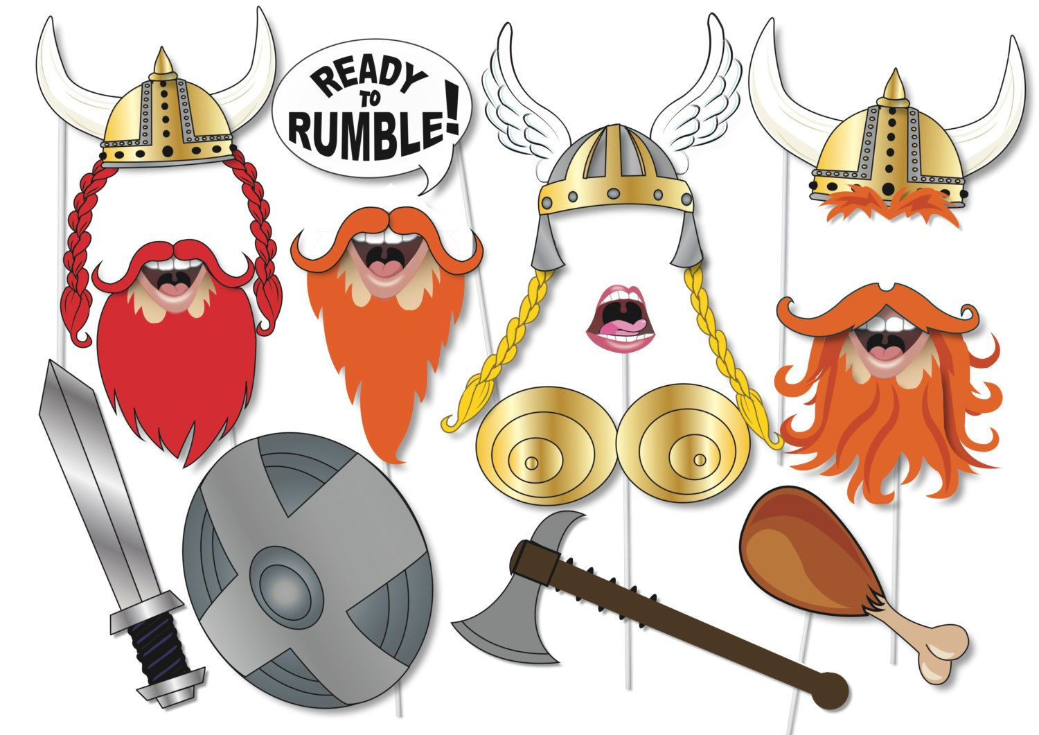 viking photo booth props party set 12 piece printable fun back