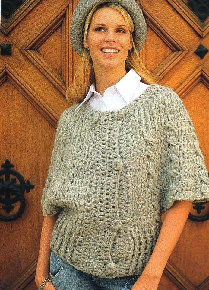 Chaqueta Mangas Japonesas Instrucciones - Patrones Crochet ...